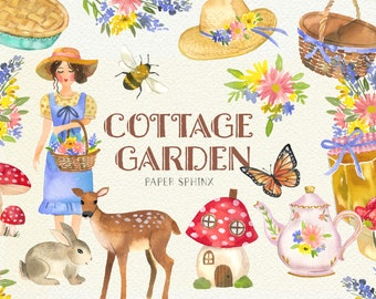 Watercolor Cottage Garden Clipart - Cottagecore Aesthetic, Vintage Mushrooms, Wildflowers, Cottage Girl - Instant Download Clipart Graphics