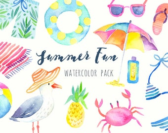 Watercolor Summer Clipart - Beach Clipart - Tropical Graphics - Printable hand painted clipart - DIY cards, Scrapbook, Digital Clip Art