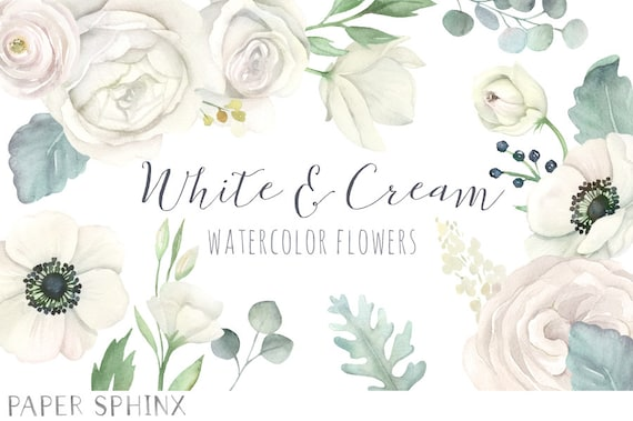watercolor white flowers clipart white wedding florals etsy