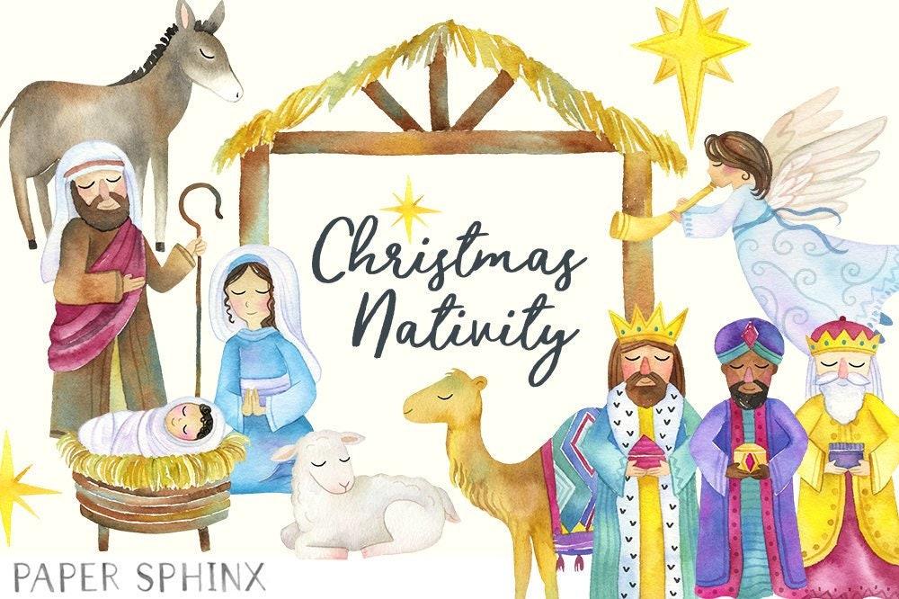 Watercolor Nativity Clipart Christmas Nativity Holiday | Etsy