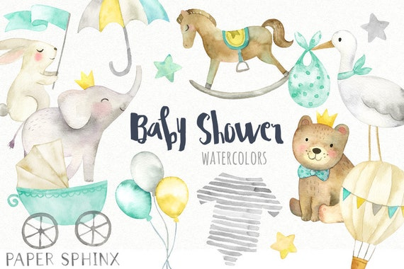 Baby Shower Clipart Gender Neutral Baby Graphics Elephant Etsy