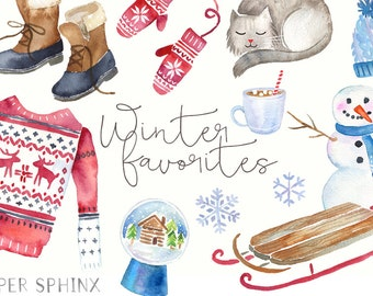 Watercolor Winter Clipart | Holiday Fashion - Ugly Sweater, Mittens, Hat, Boots - Holiday / Christmas Art - Instant Download PNG files