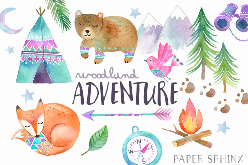 90a5b320f5f09 Watercolor Adventure Clipart Woodland Tribal Animals Clipart | Etsy