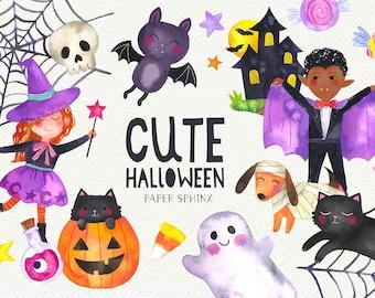 Cute Halloween Clipart   Watercolor Halloween, Cute Bat, Black Cat, Pumpkins, Ghost, Halloween Candy, Spider Web - Instant Download PNG File