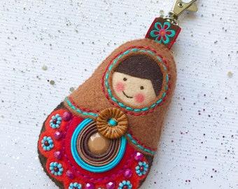 Matryoshka, babushka, russian doll, Keychain Felt,
