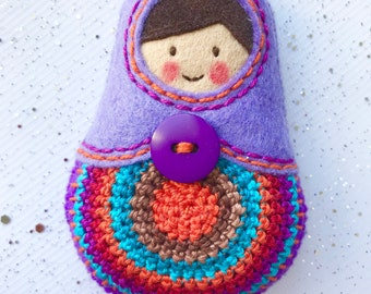 Matryoshka, babushka, russian doll, crochet Keychain Felt,
