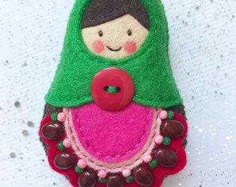 Watermelon matryoshka, babushka, russian doll, Keychain Felt