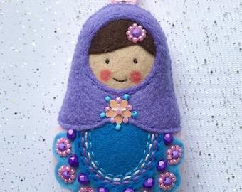 Matryoshka, babushka, russian doll, Keychain Felt