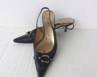 0d38bd536e DOLCE and GABBANA vintage black leather sling back low kitten heel shoes  made in ITALY sz eu 42 .us10