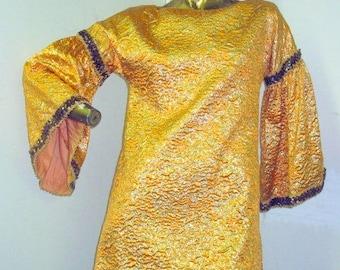 de2091a3220c rock the night life in this amazing vintage 60s  70s orange brocade dress  sz S