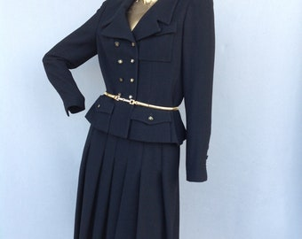 bab6408bf577f CHANEL luxurious vintage 80s black wool skirt suit-double breasted short  jacket-pleated skirt-authentic CHANEL