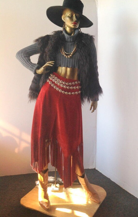 vintage 1980s long suede fringe skirt sz med