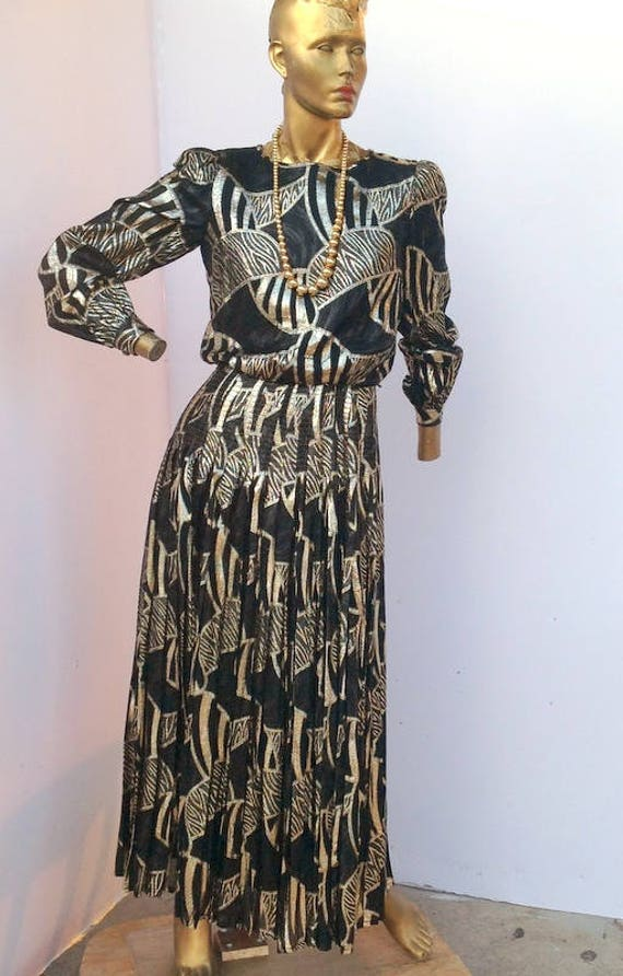 Vintage Women BLACK and Gold Maxi Dress ,Women Lon