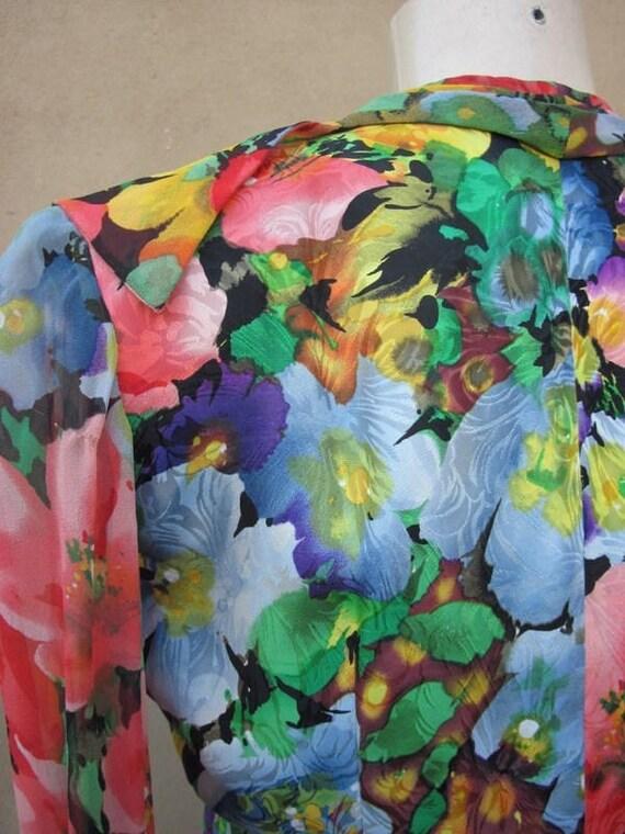 SZ 6 vintage 80's ALBERT NIPON silk wrap dress - image 4