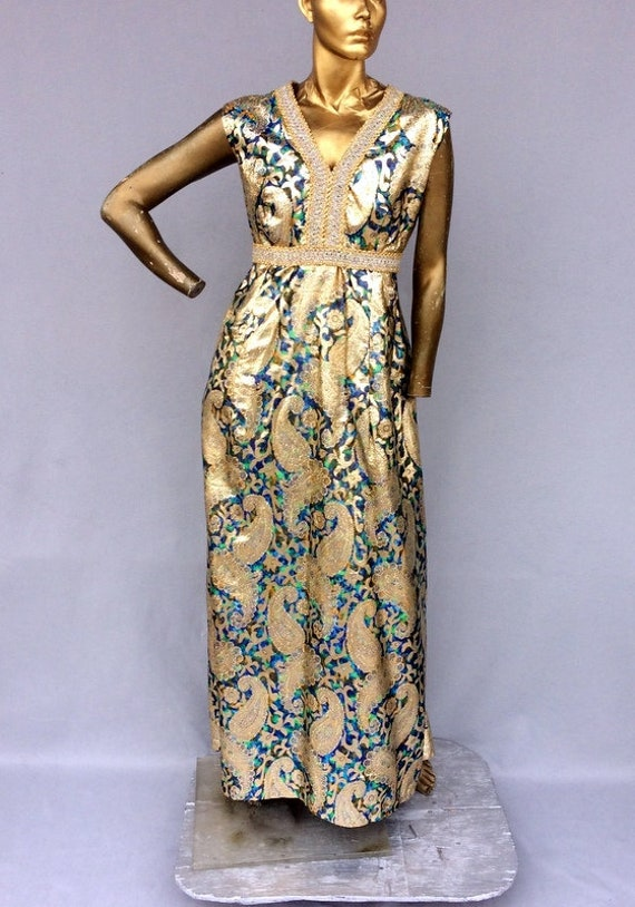 vintage 70s luxurious shiny metallic brocade eveni