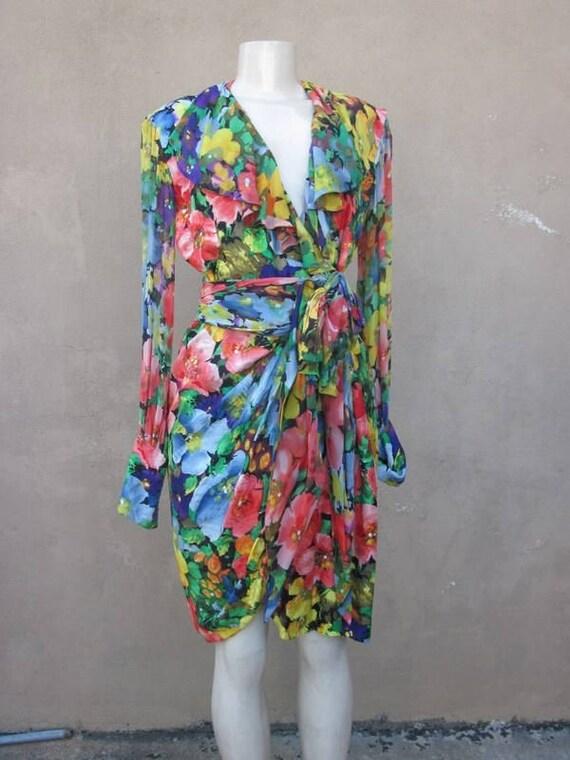 SZ 6 vintage 80's ALBERT NIPON silk wrap dress - image 1