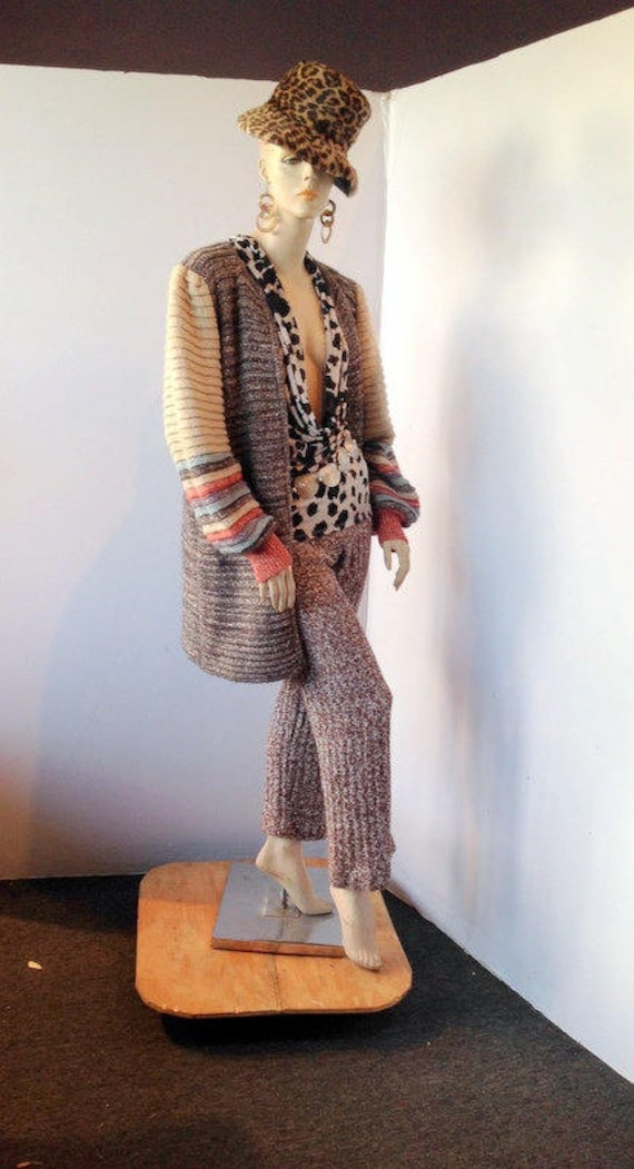 vintage 70s sweater knit pants, putting on the exc