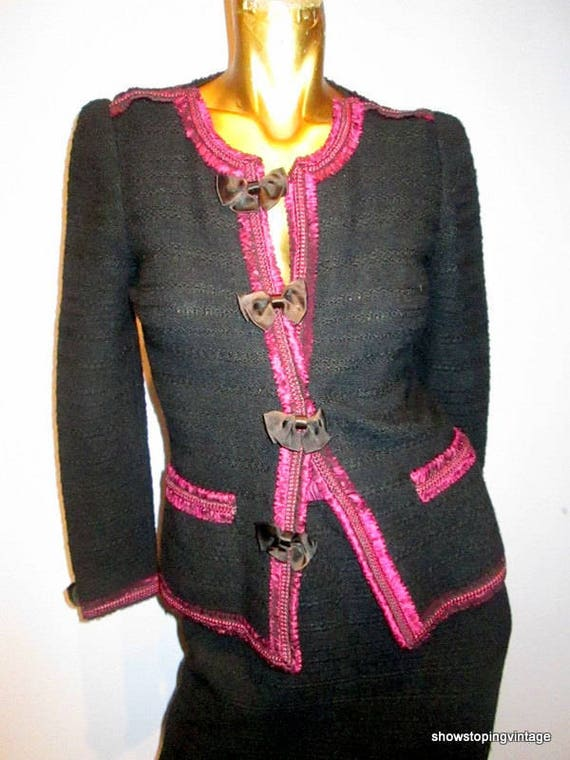 vintage 80s ADOLFO black and fuschia wool knit ski