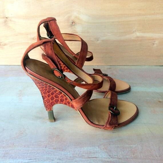 chaussures Vintage, Giuseppe biscotte couleur daim et gator sandales à à à talons hauts, fabriqués en Italie sz UE 37 US 6 | Promotions  6dcd3f