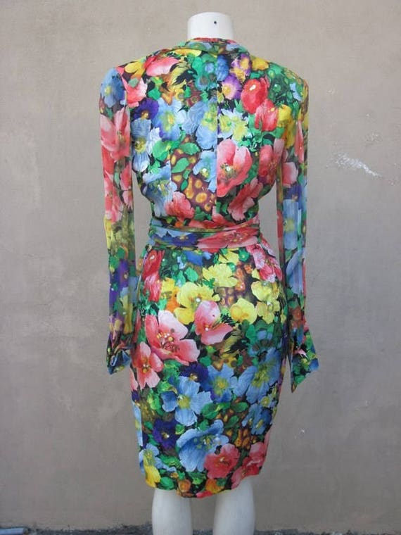 SZ 6 vintage 80's ALBERT NIPON silk wrap dress - image 3