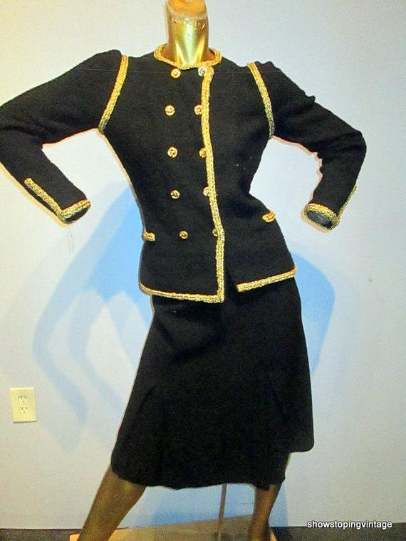 vintage 80s ADOLFO black and gold wool knit skirt