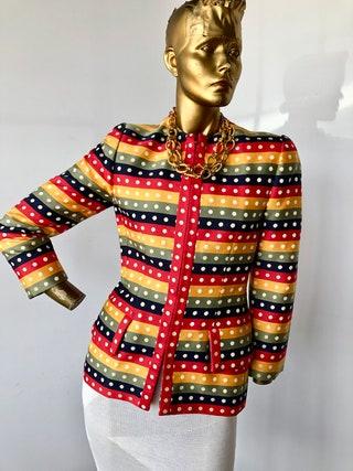 sz small BILL BLASS vintage silk jacket- maintain some mystery in this elegant bold polka dot  jacket-sustainable fashion