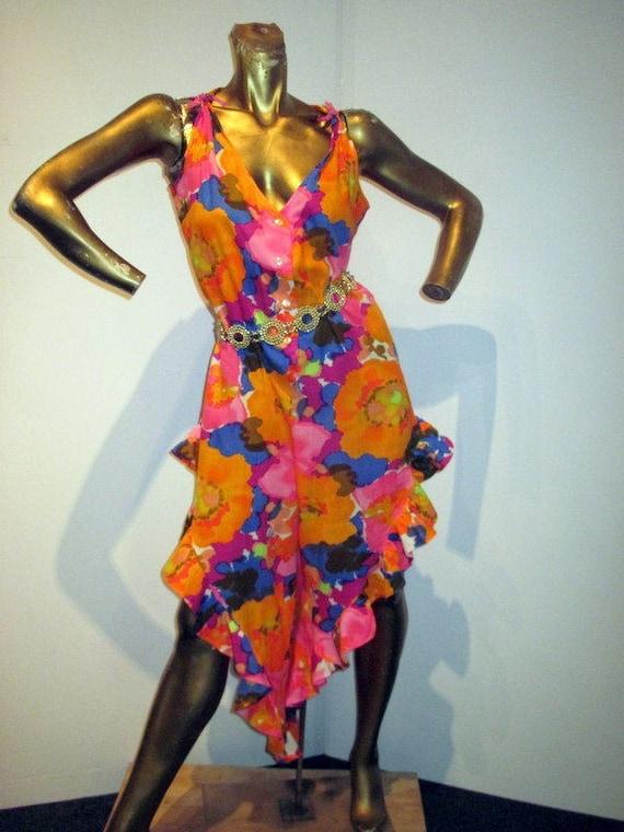 vintage 70s bold floral print cotton ruffle jumpsu