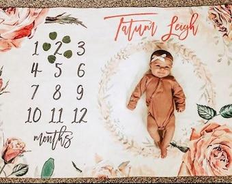 Milestone Blanket Girl Rose Weeks Months And Years - Baby Milestone Blanket - Personalized Baby Blanket - Floral Baby Milestone Blanket