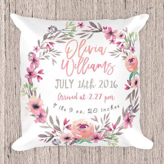 Birth Announcement Pillow Birth Certificate Pillow Etsy