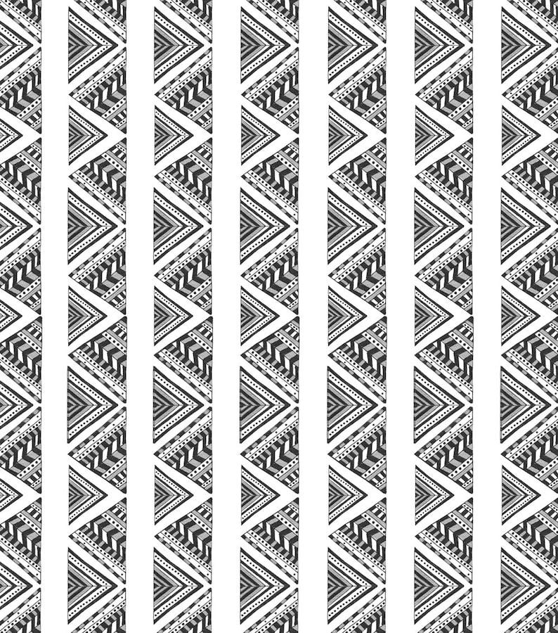 Monochrome Nursery Curtains black and white baby room curtains black and white Nursery tribal nursery curtains Gender neutral curtains