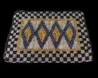 """BEADED EVENING BAG, vintage Neiman Marcus zipper clutch or purse, black gold silver blue, 6.5"""" small zippered cosmetic pouch"""
