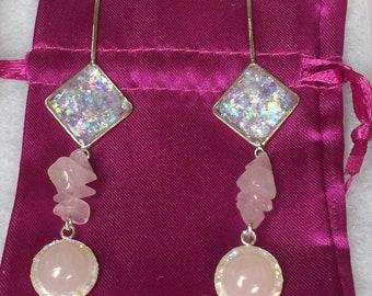 Natural Rose Quartz Opal Diamond Shaped Drop Dangle Statement Earrings