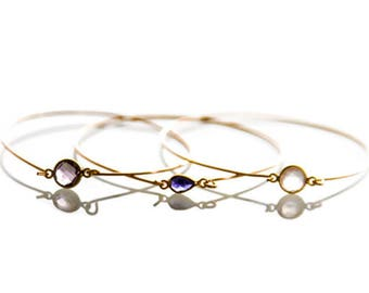 Any 3 Combination: Crystal and Gold Stacking Bracelets - Gold and Crystal Stacking Bangles Crystal Bangles Crystal Jewelry - Bridesmaid Gift