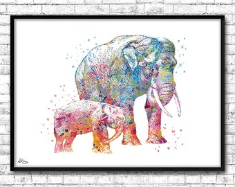 Art Print Poster Watercolor elephant