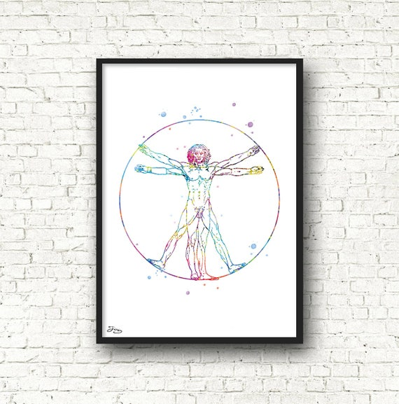 Man Of Vitruve Art Human Body Body Movement Watercolor Etsy