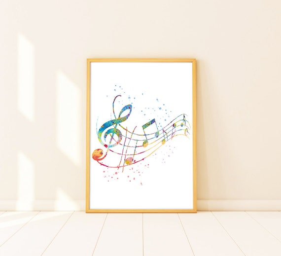 Music Poster Watercolor Notes Kids Birthday Gift