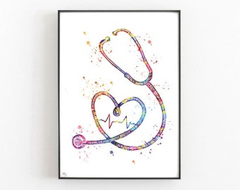 Stethoscope art, doctor gift, doctor's diploma gift, medical art, acoustic instrument, veterinary gift or doctor [Number 173]