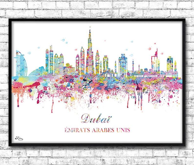 Dubai skyline map asia United Arab Emirates poster city | Etsy on