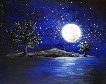 Night landscape canvas phosphorescent Moon reflection on Lake landscape