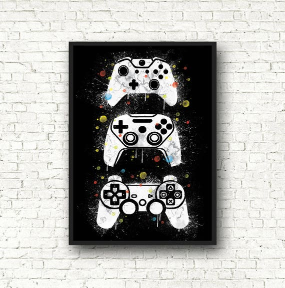 Gamer poster, black and white, gamers gift, art game, joysticks game, video  game, poster games, bedroom decoration, teenager Deco, father party