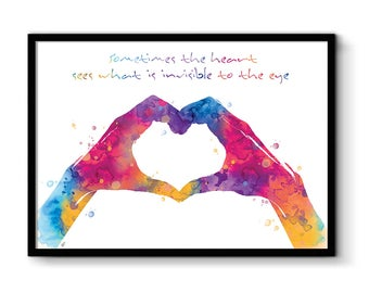 Poster quote, & love hands love, art print love heart hands print, watercolor love gift idea