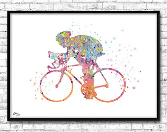 Cyclist poster, bike poster, sports illustration, Father's Day gift idea, watercolor cycling, birthday gift [Issue 337]