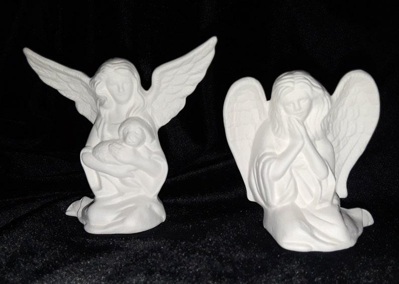 Angel Pair 2 pieces - Unpainted Ceramic Bisque