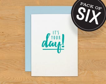 """Box of 6 """"Your Day"""" Birthday Card A2"""