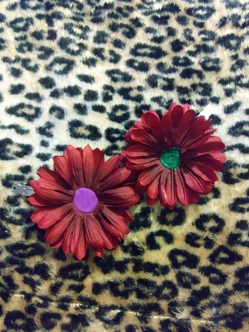 Set Of 2 Large Burgundy Flower French Barrette Hair Clips With Fuchsia Pink And Emerald Green Glitter Centers