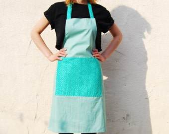 Handmade Adult Apron - Green With Jade Patterned Pocket. Chefs Apron, Cooks Apron, Crafters Apron, Fabric Apron, Turquoise, Gifts for Her