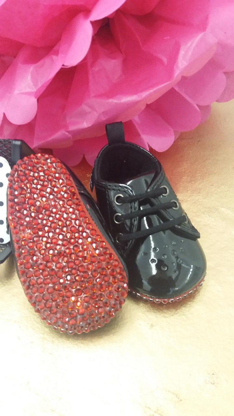 79dd80b9bca5f Boy Black and Red baby shoes/Baby Louboutins  Inspired/Wedding/Baptism/Birthday/Baby Ballet Shoe/Soft Bottom Shoes/Infant  Bling Baby Shoes