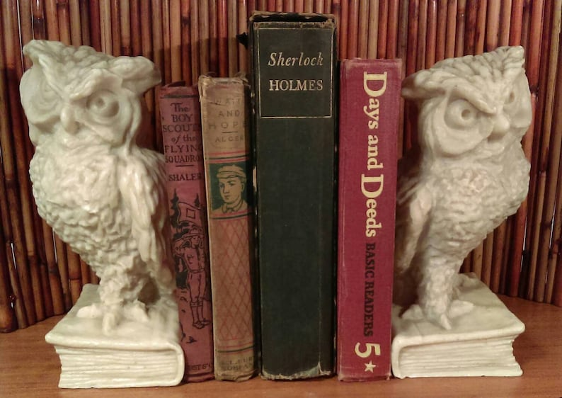 flawless and gorgeous pure color.*Shipping varies original care for sticker on bottom Vintage Athena Marble Bookends,Owls Perched on Books