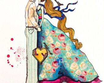 ORIGINAL Art / Modern Ilustration - Young Lovers