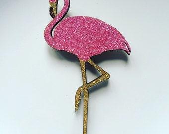 Vintage Kitsch Retro Style Pink Flamingo Glitter Brooch